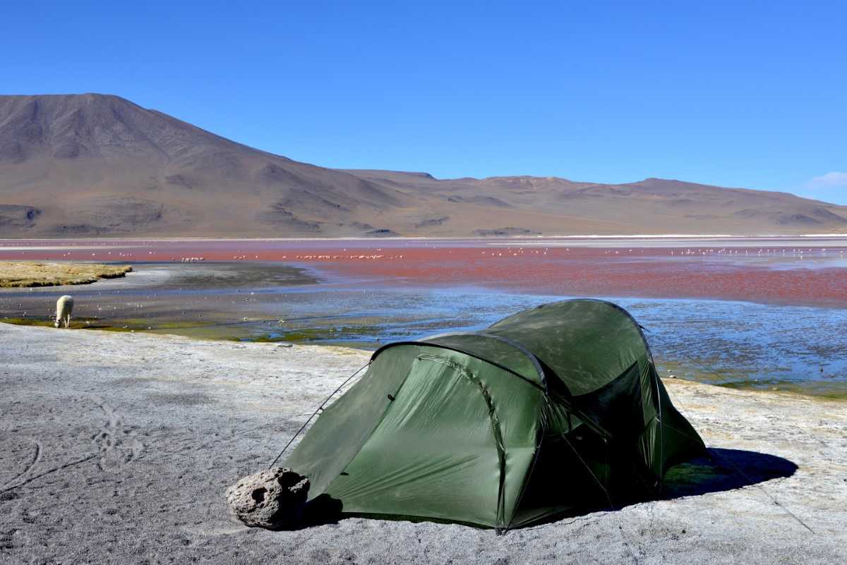 Ons kamp bij laguna Colorada