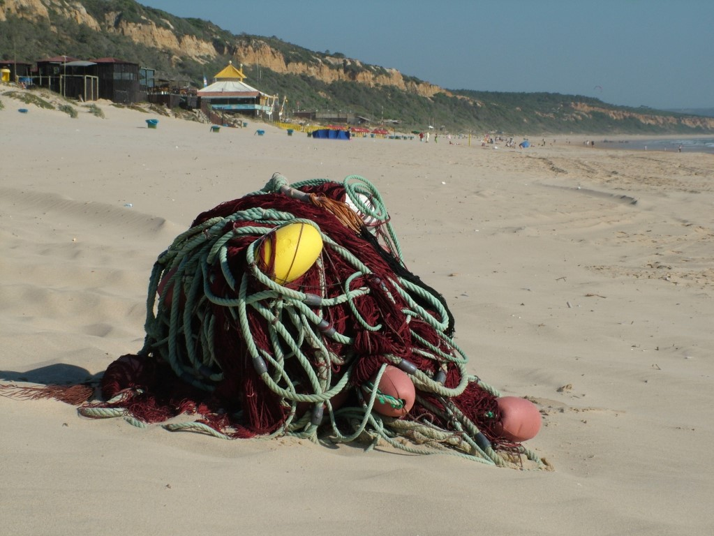 net op het strand